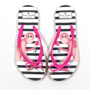 Kate Spade Stripe Monkey Bow Flip Flops Sandal